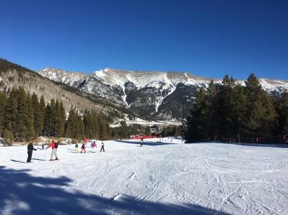 Beautiful mountain view while skiing