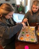 My older sister and me making cookies